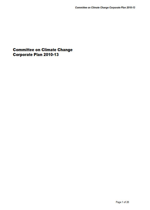 Committee on Climate Change Corporate plan for 2010 to 2013
