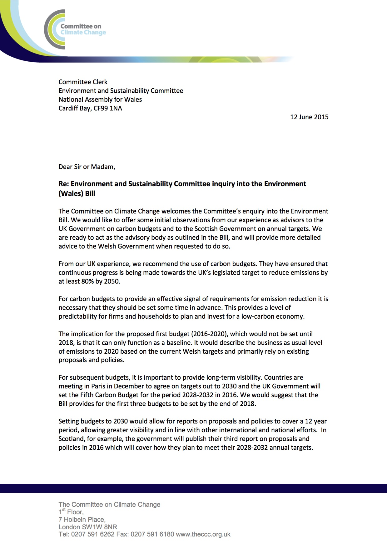 Response To Environment Bill Letter To Env Sust Committee June 2015