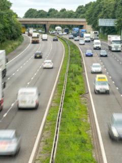 Cars and vans on a motorway