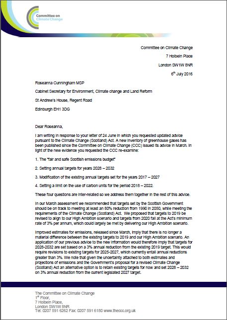 Scottish emissions targets letter