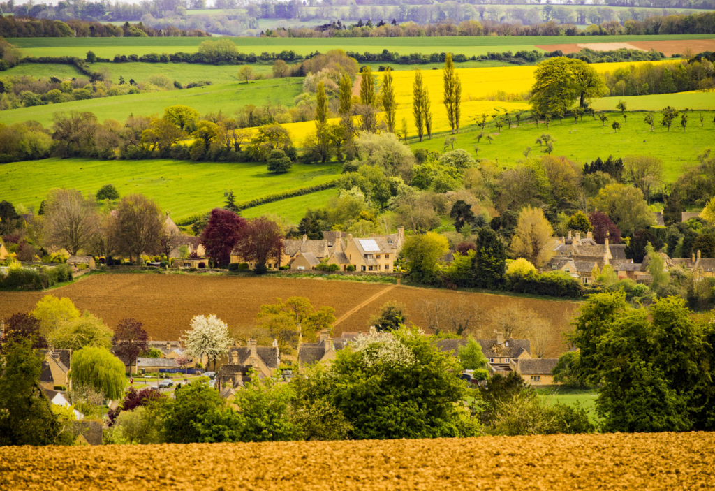 The view from Dover Hill Nr. Chipping Campden on the route of the Cotswolds way footpath