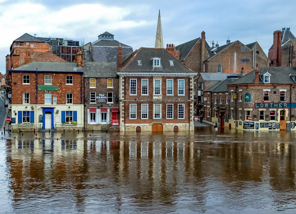 Flooding on King's Staith, York, England, United Kingdom