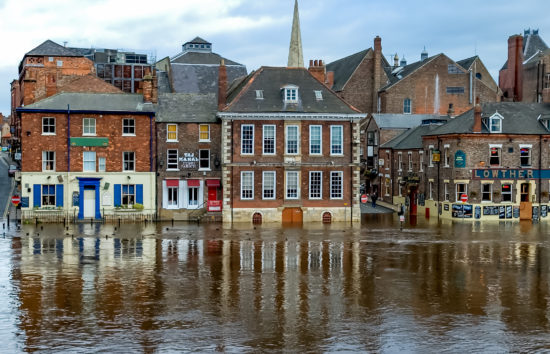 Flooding on King's Staith, York, England, United Kingdom