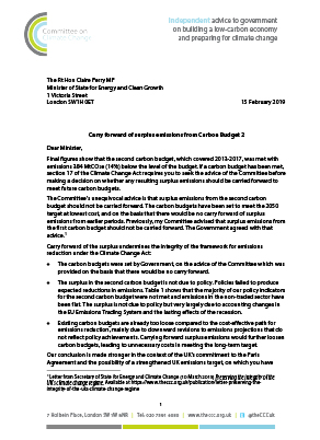 Lord Deben letter to Claire Perry