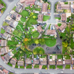 Aerial view of UK housing